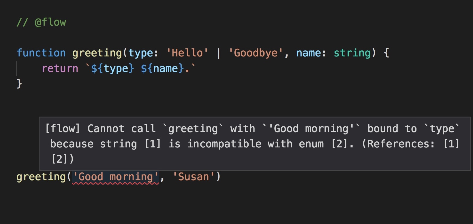 Enum in JS static typing